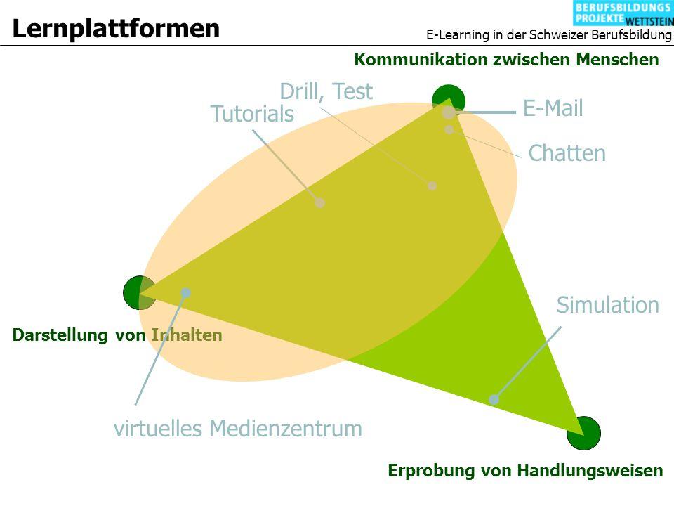 E-Learning in der Schweizer Berufsbildung Lernplattformen Darstellung von Inhalten Kommunikation zwischen Menschen Erprobung von Handlungsweisen Simulation E-Mail Chatten Tutorials Drill, Test virtuelles Medienzentrum