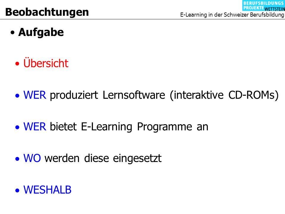 E-Learning in der Schweizer Berufsbildung Empfehlungen Erfahrung im eigenen Lernen und Lehren gewinnen Für Planung Groupware einführen Computerliteracy fördern Versuche in kleinen, sehr konkreten Bereichen E-Learning zum Thema machen Beim Sponsoring an ASP und Manpower denken