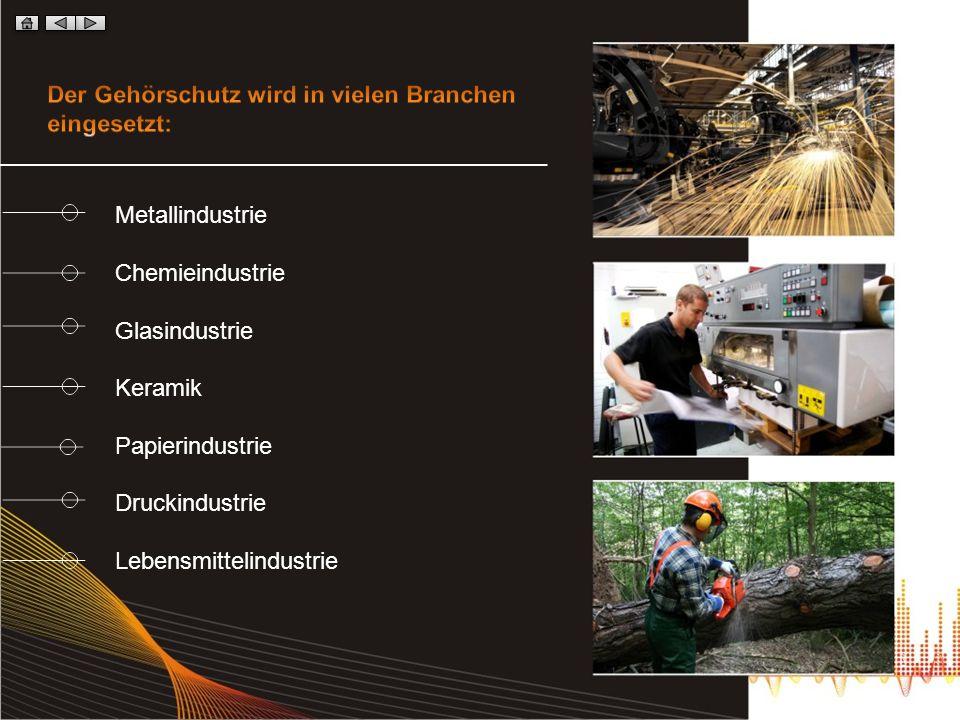Metallindustrie Chemieindustrie Glasindustrie Keramik Papierindustrie Druckindustrie Lebensmittelindustrie