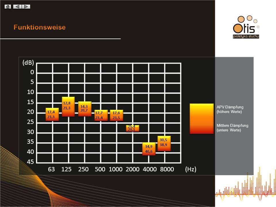 (dB) 0 5 10 15 20 25 30 35 40 45 63 125 250 500 1000 2000 4000 8000 (Hz) APV Dämpfung (höhere Werte) Mittlere Dämpfung (untere Werte) 17,4 23,3 12,8 2
