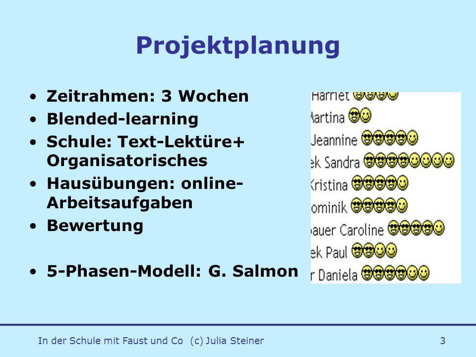 In der Schule mit Faust und Co (c) Julia Steiner3 Projektplanung Zeitrahmen: 3 Wochen Blended-learning Schule: Text-Lektüre+ Organisatorisches Hausübu
