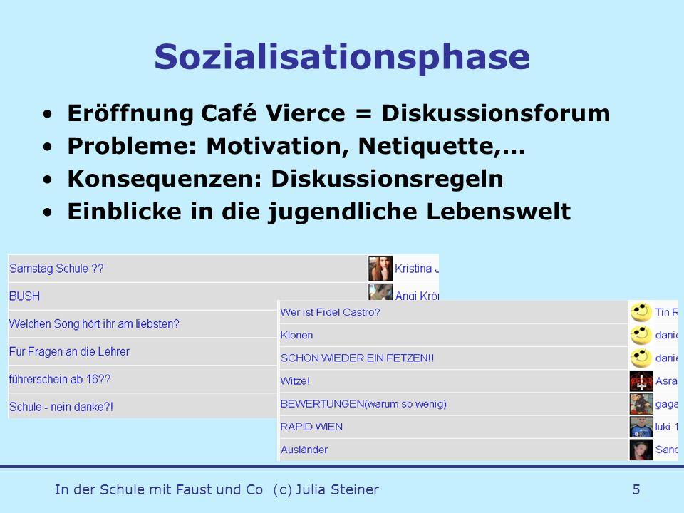 In der Schule mit Faust und Co (c) Julia Steiner5 Sozialisationsphase Eröffnung Café Vierce = Diskussionsforum Probleme: Motivation, Netiquette,… Kons