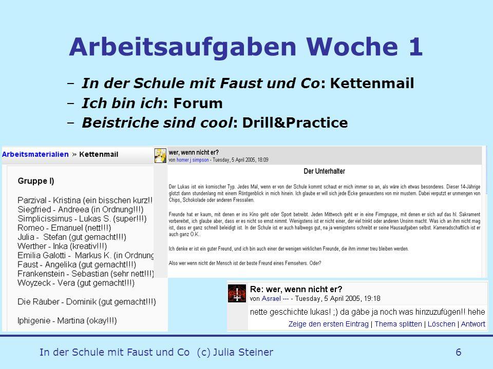 In der Schule mit Faust und Co (c) Julia Steiner6 Arbeitsaufgaben Woche 1 –In der Schule mit Faust und Co: Kettenmail –Ich bin ich: Forum –Beistriche