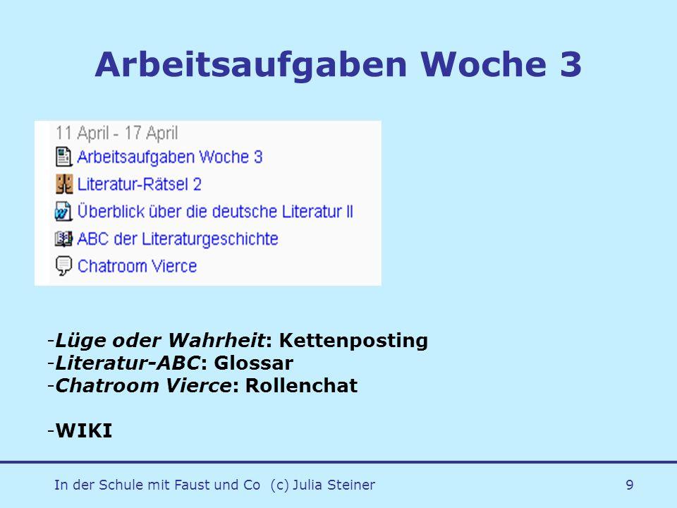 In der Schule mit Faust und Co (c) Julia Steiner9 Arbeitsaufgaben Woche 3 -Lüge oder Wahrheit: Kettenposting -Literatur-ABC: Glossar -Chatroom Vierce: