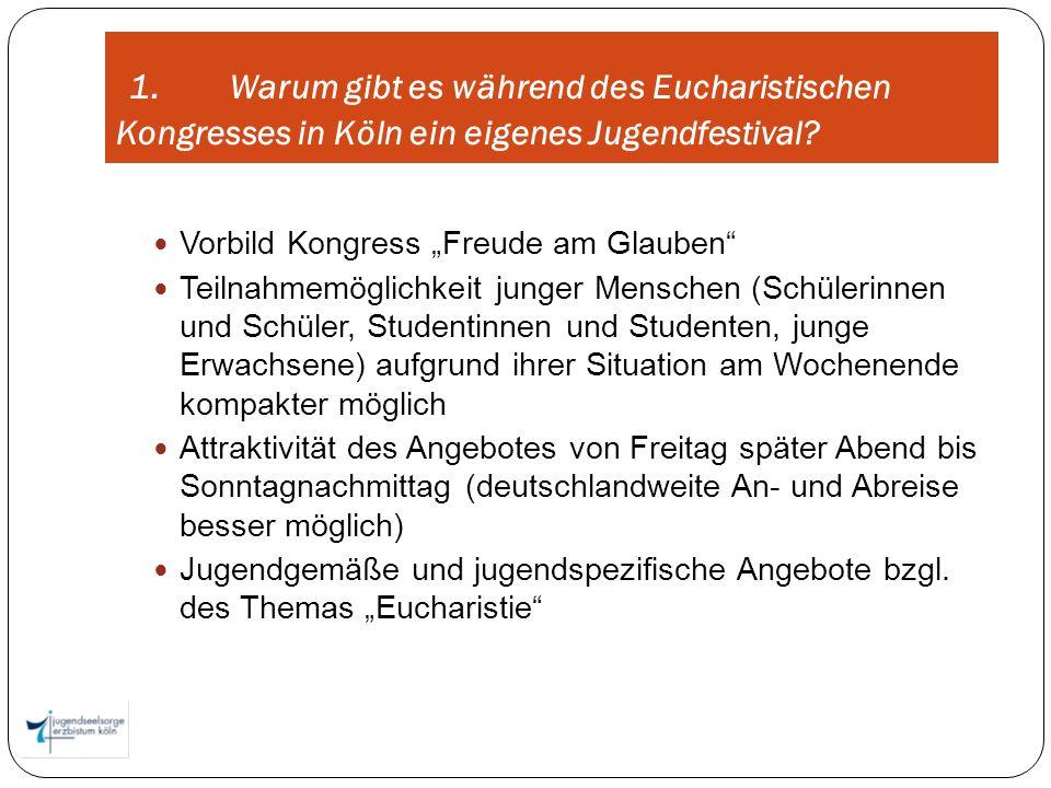 1. Warum gibt es während des Eucharistischen Kongresses in Köln ein eigenes Jugendfestival? Vorbild Kongress Freude am Glauben Teilnahmemöglichkeit ju