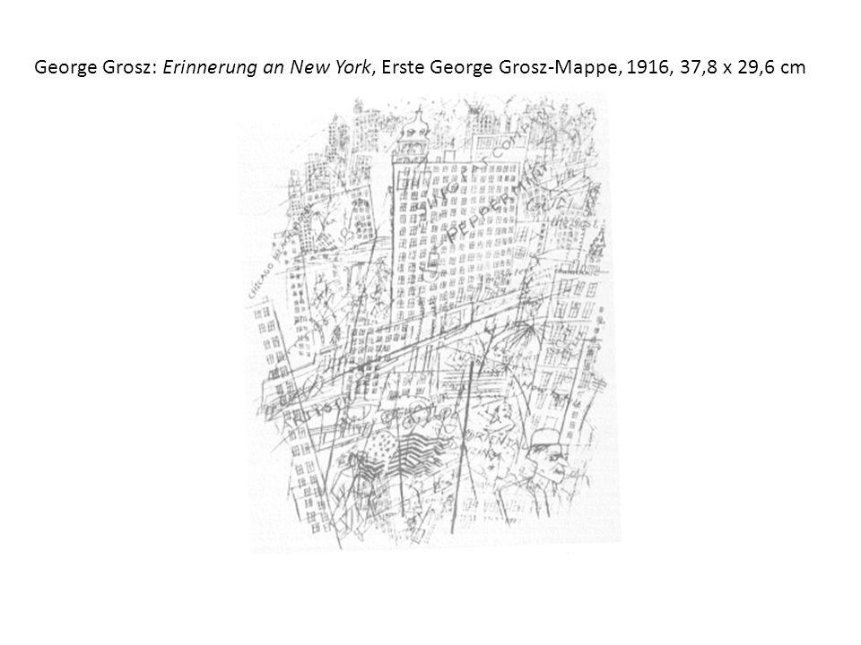 George Grosz: Erinnerung an New York, Erste George Grosz-Mappe, 1916, 37,8 x 29,6 cm