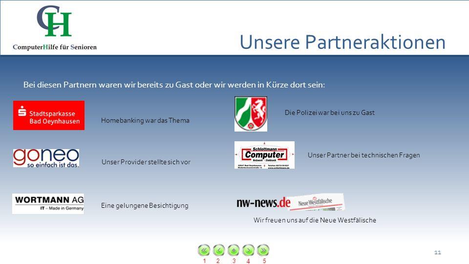 123 4 5 Unsere Partneraktionen 11 Bei diesen Partnern waren wir bereits zu Gast oder wir werden in Kürze dort sein: Homebanking war das Thema Unser Pr