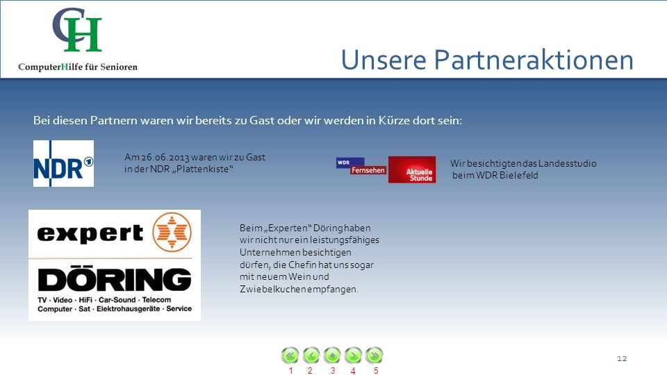 123 4 5 Unsere Partneraktionen 12 Bei diesen Partnern waren wir bereits zu Gast oder wir werden in Kürze dort sein: Am 26.06.2013 waren wir zu Gast in