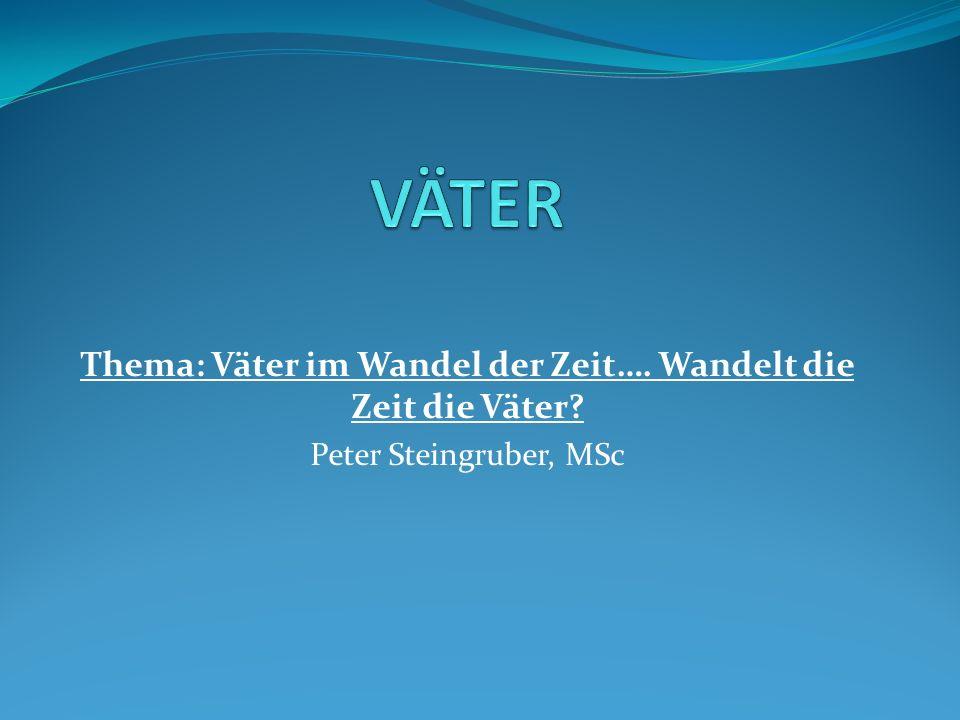 Thema: Väter im Wandel der Zeit…. Wandelt die Zeit die Väter? Peter Steingruber, MSc