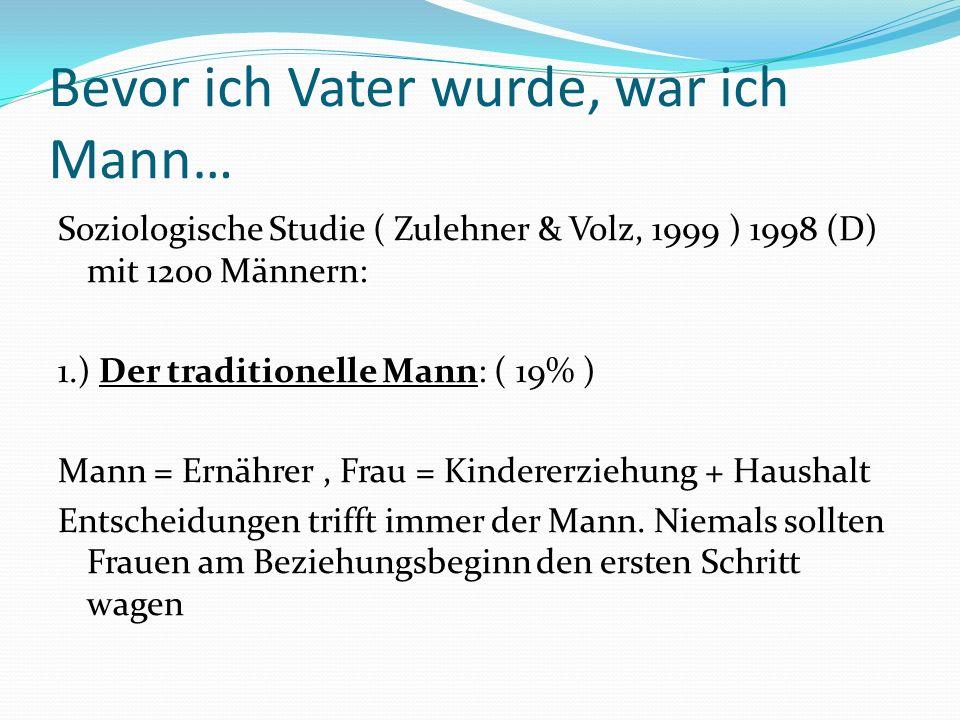 Bevor ich Vater wurde, war ich Mann… Soziologische Studie ( Zulehner & Volz, 1999 ) 1998 (D) mit 1200 Männern: 1.) Der traditionelle Mann: ( 19% ) Mann = Ernährer, Frau = Kindererziehung + Haushalt Entscheidungen trifft immer der Mann.