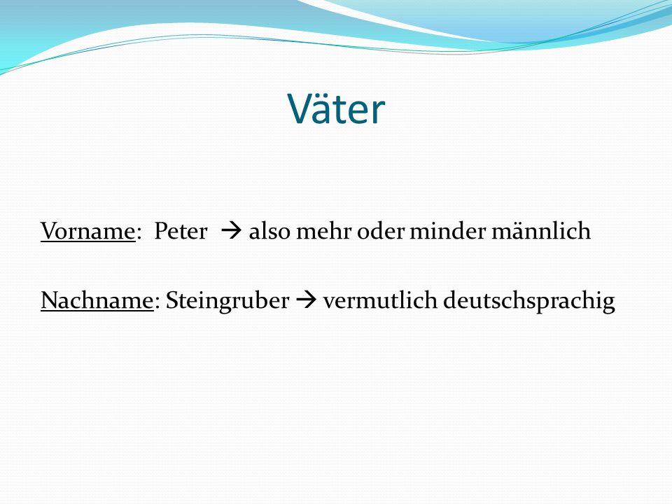 Väter Vorname: Peter also mehr oder minder männlich Nachname: Steingruber vermutlich deutschsprachig