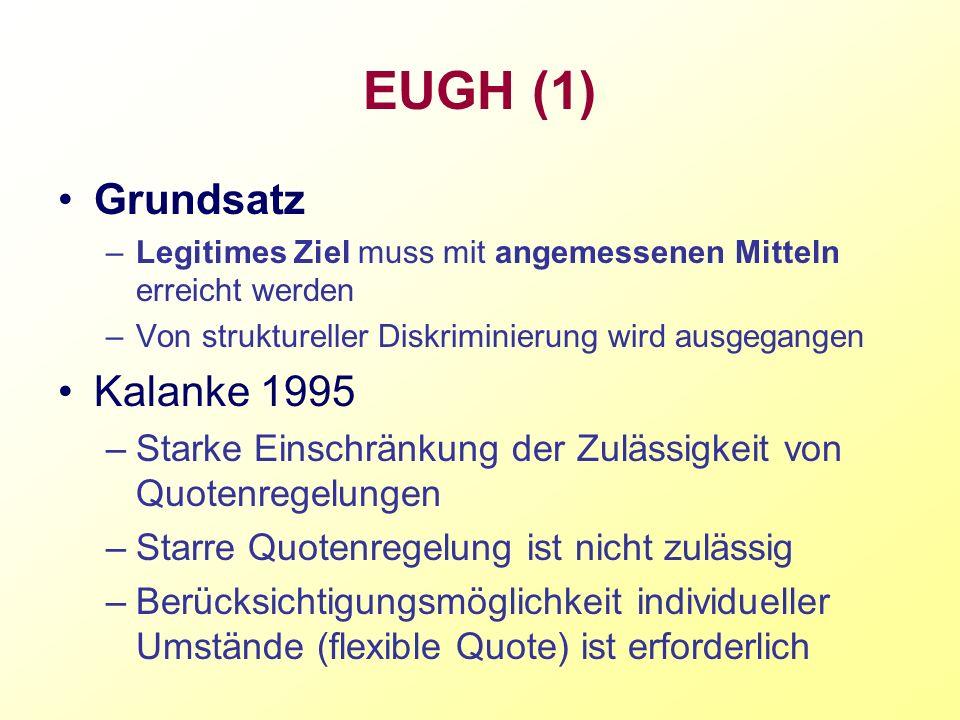 EUGH (1) Grundsatz –Legitimes Ziel muss mit angemessenen Mitteln erreicht werden –Von struktureller Diskriminierung wird ausgegangen Kalanke 1995 –Sta