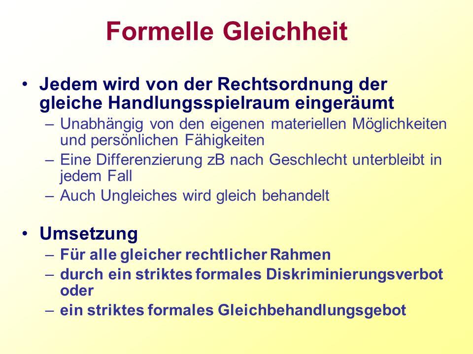 Konsequenzen OGH 2001 –Österreichische Quotenregelung ist zu starr und schießt über das Ziel hinaus Novelle des B-GBG –40 % Quote –Härteklausel (Öffnungsklausel) In der Person eines Mitbewerbers liegende Gründe Unbestimmter Rechtsbegriff Die Beachtung dieser Gründe darf aber keine unmittelbar oder mittelbar diskriminierende Wirkung haben –zB Alleinverdienerstatus