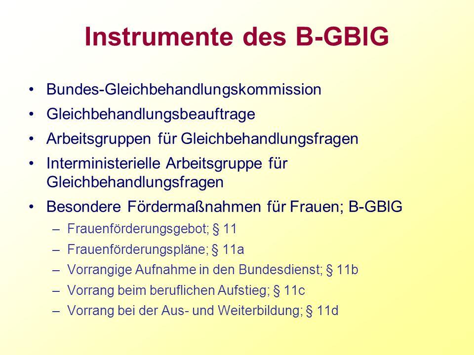 Instrumente des B-GBlG Bundes-Gleichbehandlungskommission Gleichbehandlungsbeauftrage Arbeitsgruppen für Gleichbehandlungsfragen Interministerielle Ar