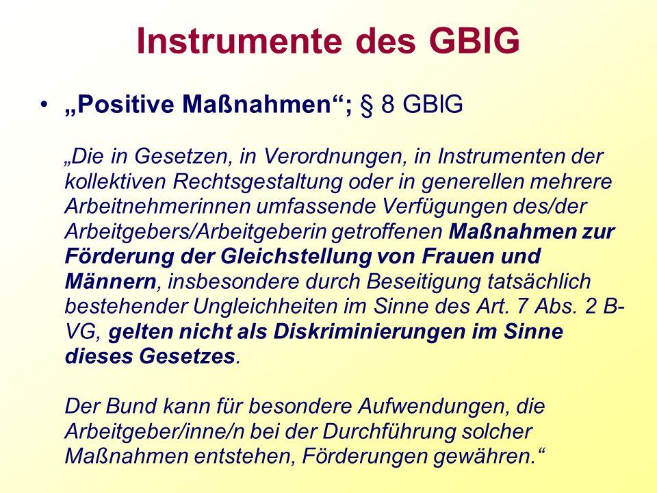 Instrumente des GBlG Positive Maßnahmen; § 8 GBlG Die in Gesetzen, in Verordnungen, in Instrumenten der kollektiven Rechtsgestaltung oder in generelle