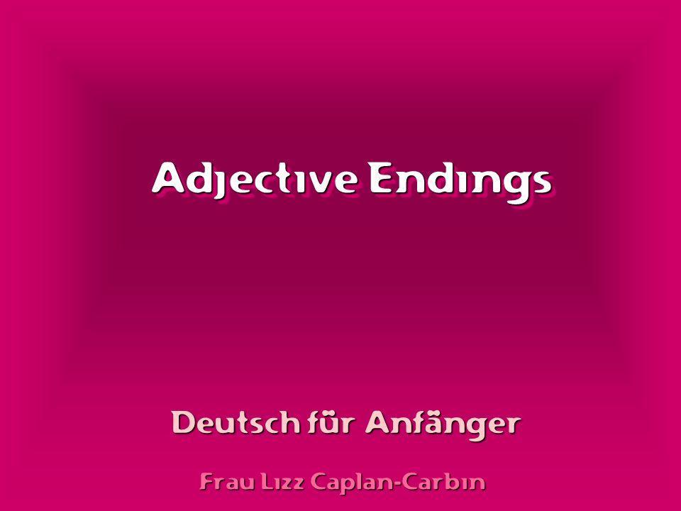 Adjective Endings Frau Lizz Caplan-Carbin Deutsch für Anfänger