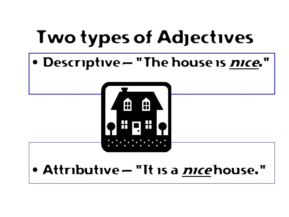Two types of Adjectives Attributive – It is a nice house. Descriptive – The house is nice.