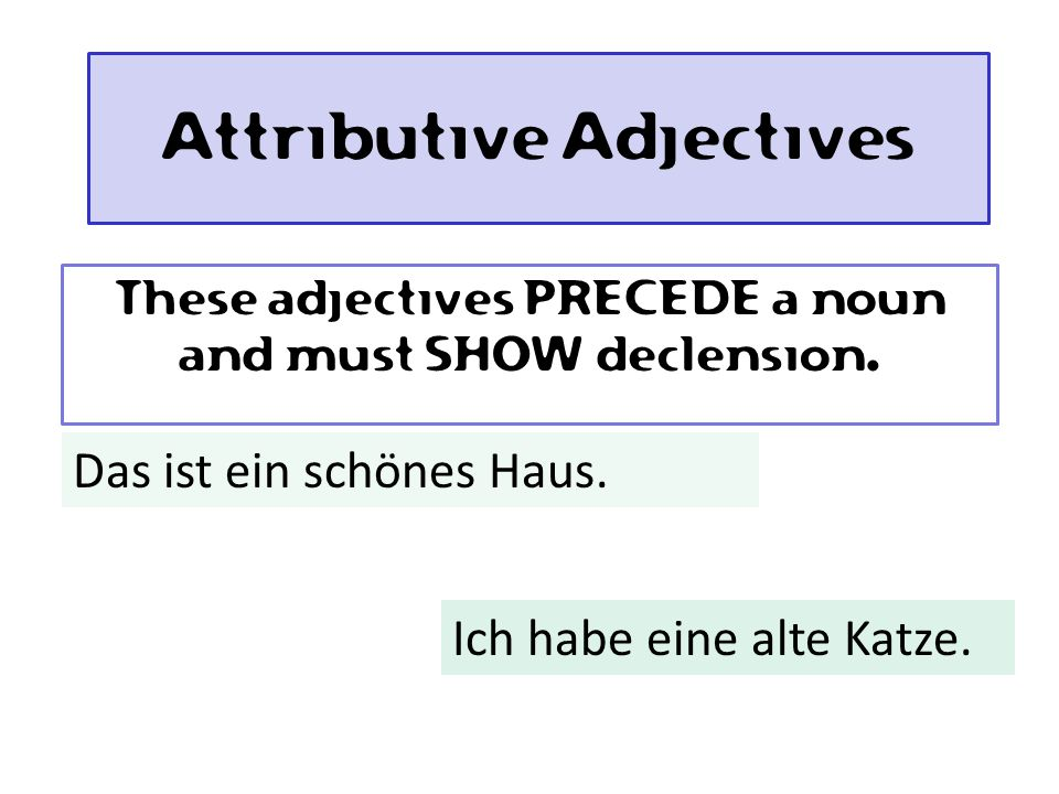 Attributive Adjectives These adjectives PRECEDE a noun and must SHOW declension.