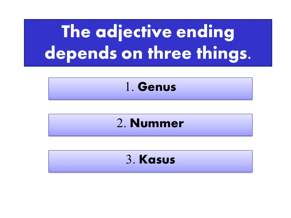 The adjective ending depends on three things. 1. Genus 2. Nummer 3. Kasus