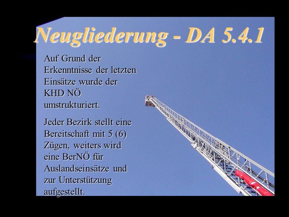 Neugliederung - DA 5.4.1 Auf Grund der Erkenntnisse der letzten Einsätze wurde der KHD NÖ umstrukturiert.