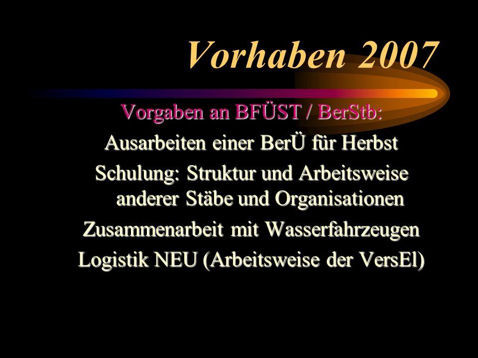 Vorhaben 2007 Vorgaben an BFÜST / BerStb: Ausarbeiten einer BerÜ für Herbst Schulung: Struktur und Arbeitsweise anderer Stäbe und Organisationen Zusammenarbeit mit Wasserfahrzeugen Logistik NEU (Arbeitsweise der VersEl)