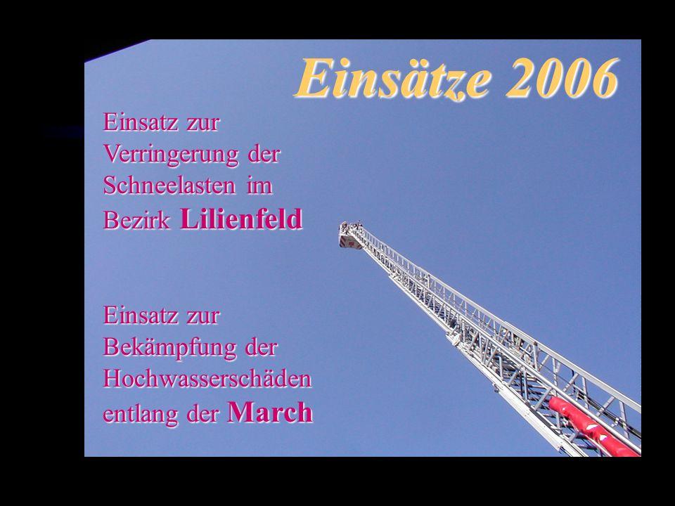 Einsätze 2006 Einsatz zur Verringerung der Schneelasten im Bezirk Lilienfeld Einsatz zur Bekämpfung der Hochwasserschäden entlang der March