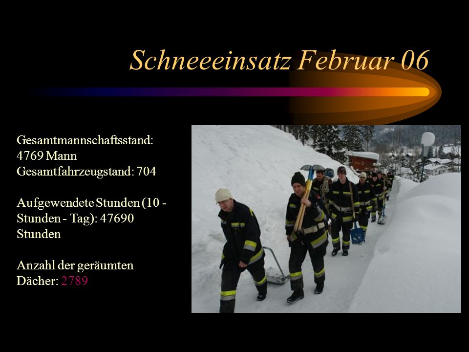 Schneeeinsatz Februar 06 Gesamtmannschaftsstand: 4769 Mann Gesamtfahrzeugstand: 704 Aufgewendete Stunden (10 - Stunden - Tag): 47690 Stunden Anzahl der geräumten Dächer: 2789
