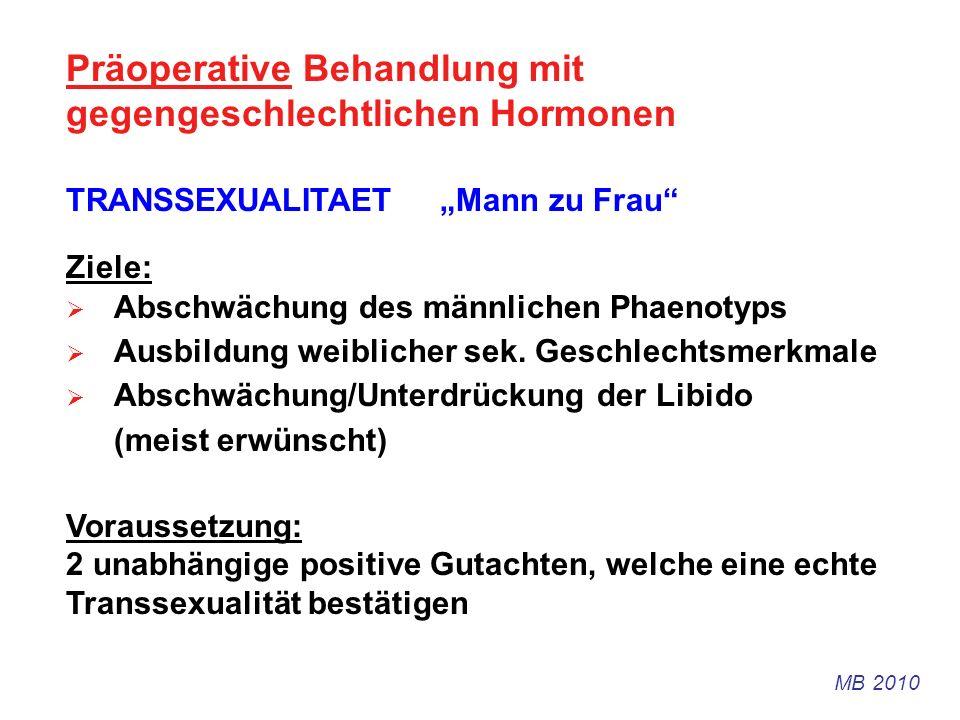 Präoperative Behandlung mit gegengeschlechtlichen Hormonen TRANSSEXUALITAET Mann zu Frau Ziele: Abschwächung des männlichen Phaenotyps Ausbildung weib