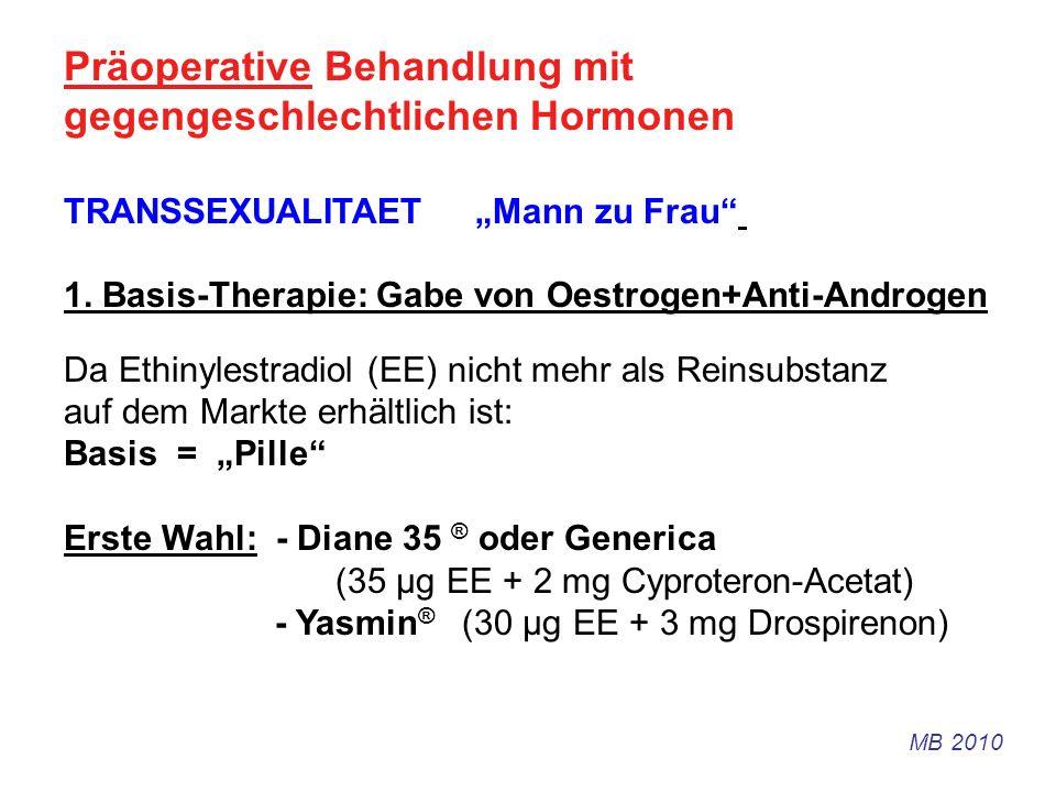 Präoperative Behandlung mit gegengeschlechtlichen Hormonen TRANSSEXUALITAET Mann zu Frau 1. Basis-Therapie: Gabe von Oestrogen+Anti-Androgen Da Ethiny