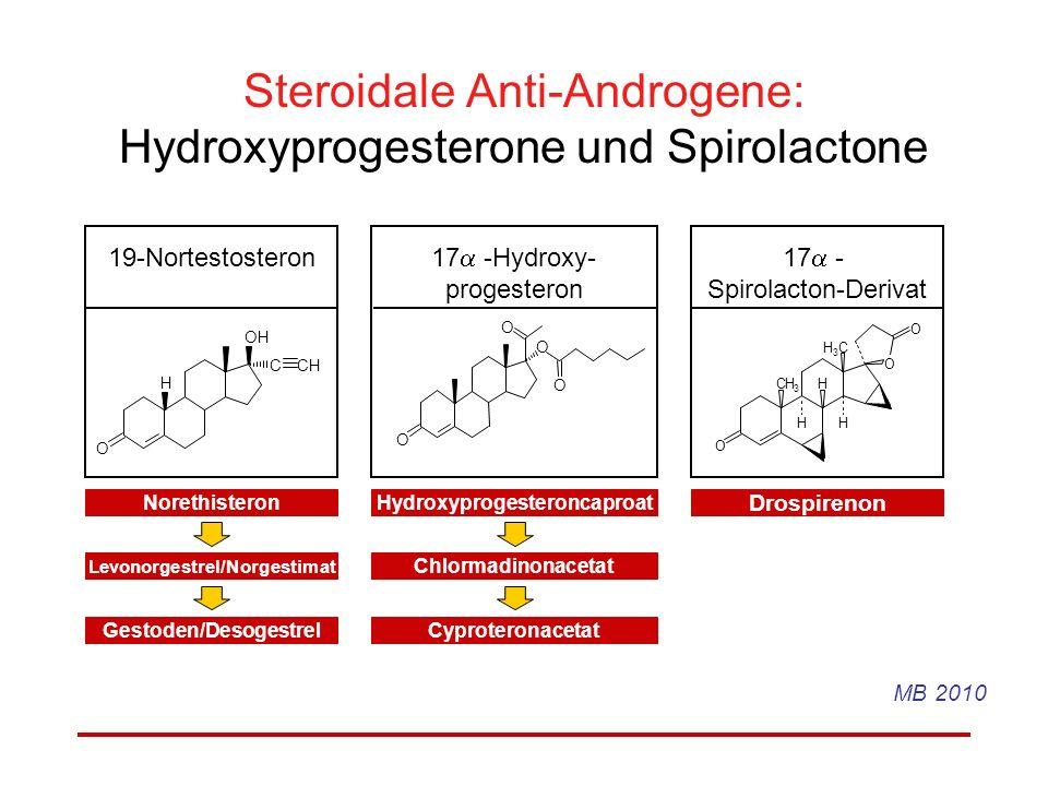 Steroidale Anti-Androgene: Hydroxyprogesterone und Spirolactone H OH C CH O O O O O 19-Nortestosteron 17 -Hydroxy- progesteron NorethisteronHydroxypro