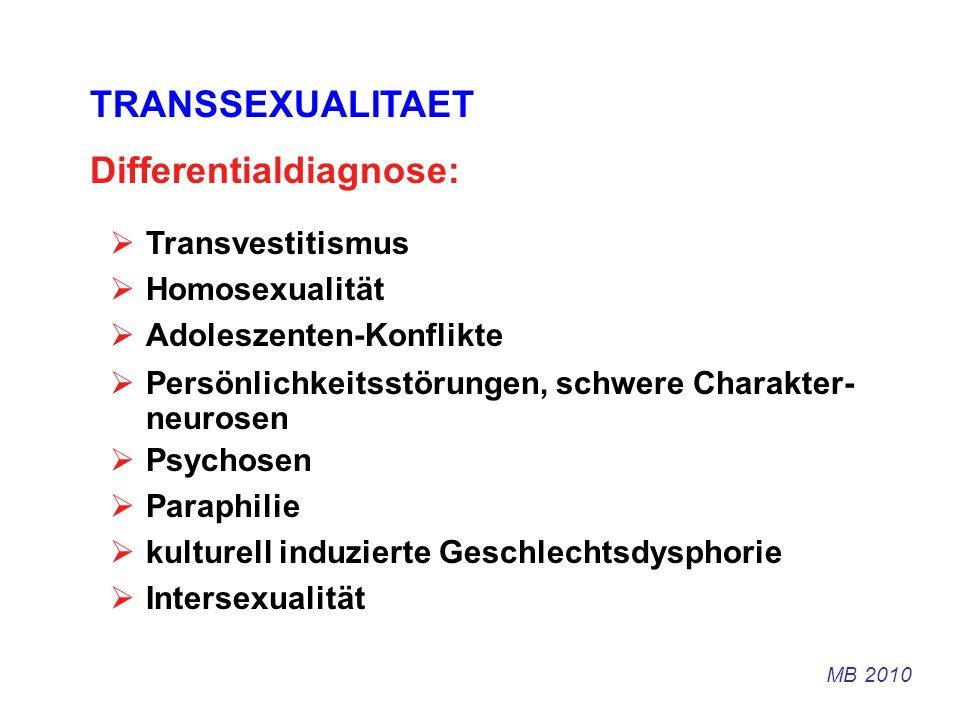 TRANSSEXUALITAET Differentialdiagnose: Transvestitismus Homosexualität Adoleszenten-Konflikte Persönlichkeitsstörungen, schwere Charakter- neurosen Ps