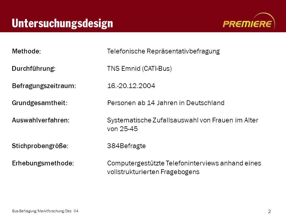 Bus-Befragung/Marktforschung/Dez 04 2 Untersuchungsdesign Methode: Telefonische Repräsentativbefragung Durchführung: TNS Emnid (CATI-Bus) Befragungszeitraum: 16.-20.12.2004 Grundgesamtheit: Personen ab 14 Jahren in Deutschland Auswahlverfahren: Systematische Zufallsauswahl von Frauen im Alter von 25-45 Stichprobengröße: 384Befragte Erhebungsmethode: Computergestützte Telefoninterviews anhand eines vollstrukturierten Fragebogens