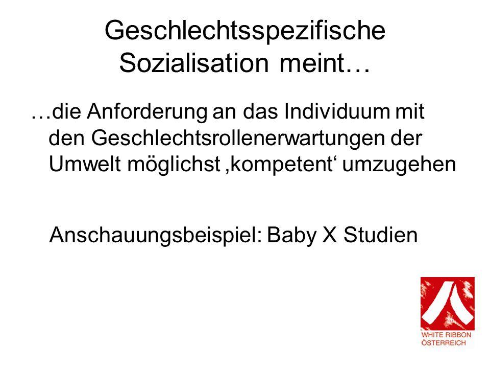 Geschlechtsspezifische Sozialisation meint… …die Anforderung an das Individuum mit den Geschlechtsrollenerwartungen der Umwelt möglichst kompetent umzugehen Anschauungsbeispiel: Baby X Studien
