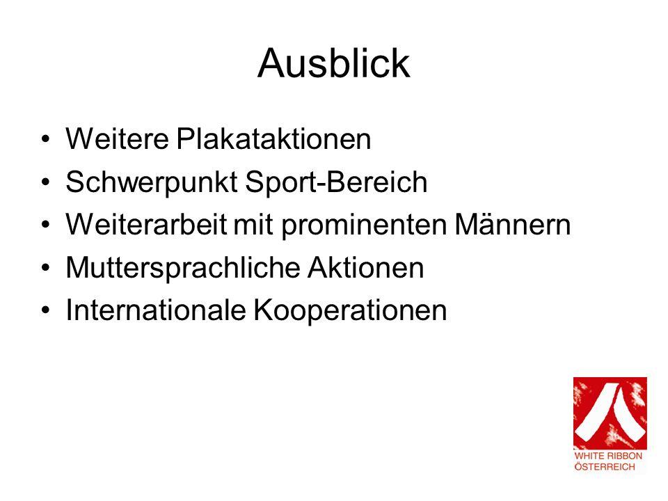 Ausblick Weitere Plakataktionen Schwerpunkt Sport-Bereich Weiterarbeit mit prominenten Männern Muttersprachliche Aktionen Internationale Kooperationen