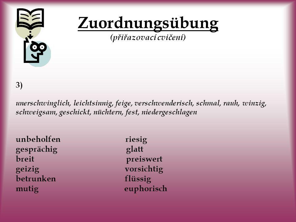 Zuordnungsübung Zuordnungsübung (přiřazovací cvičení) 2) stolz, schlank, langweilig, feindlich, naiv, aufgeregt, stumpf, taktlos, gemein, lebendig, en
