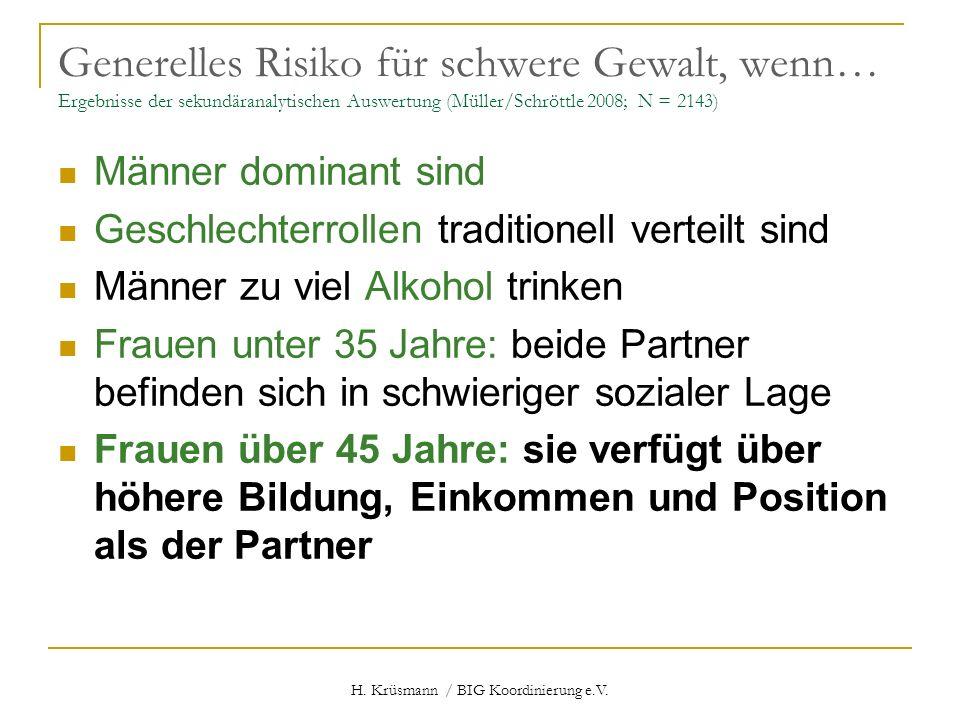 H. Krüsmann / BIG Koordinierung e.V. Generelles Risiko für schwere Gewalt, wenn… Ergebnisse der sekundäranalytischen Auswertung (Müller/Schröttle 2008
