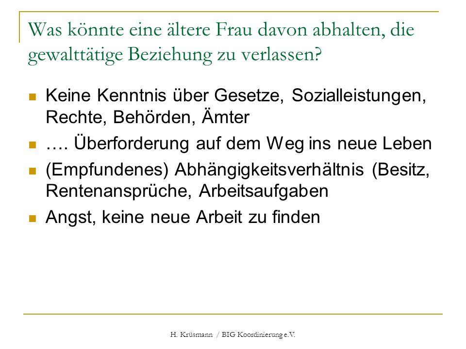 H. Krüsmann / BIG Koordinierung e.V. Was könnte eine ältere Frau davon abhalten, die gewalttätige Beziehung zu verlassen? Keine Kenntnis über Gesetze,