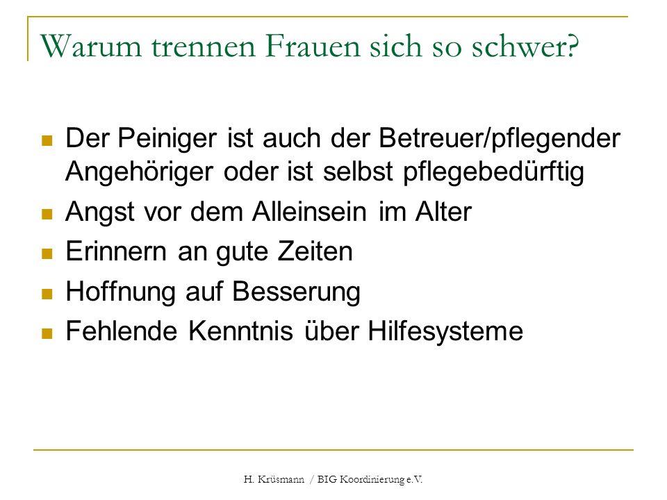 H. Krüsmann / BIG Koordinierung e.V. Warum trennen Frauen sich so schwer? Der Peiniger ist auch der Betreuer/pflegender Angehöriger oder ist selbst pf