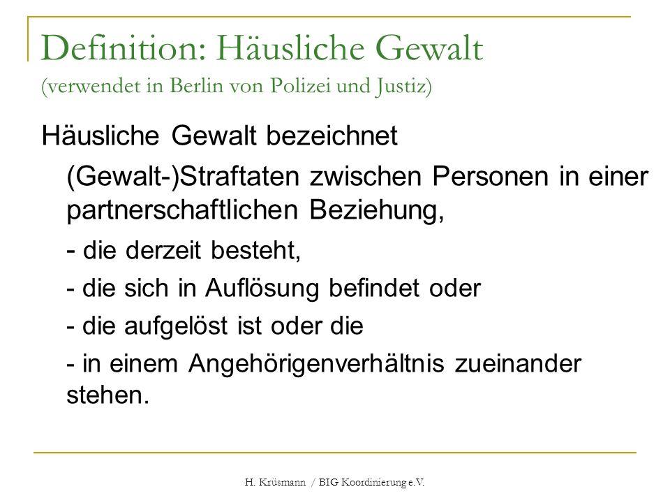 H. Krüsmann / BIG Koordinierung e.V. Definition: Häusliche Gewalt (verwendet in Berlin von Polizei und Justiz) Häusliche Gewalt bezeichnet (Gewalt-)St