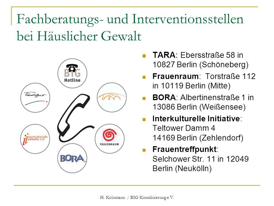H. Krüsmann / BIG Koordinierung e.V. Fachberatungs- und Interventionsstellen bei Häuslicher Gewalt TARA: Ebersstraße 58 in 10827 Berlin (Schöneberg) F