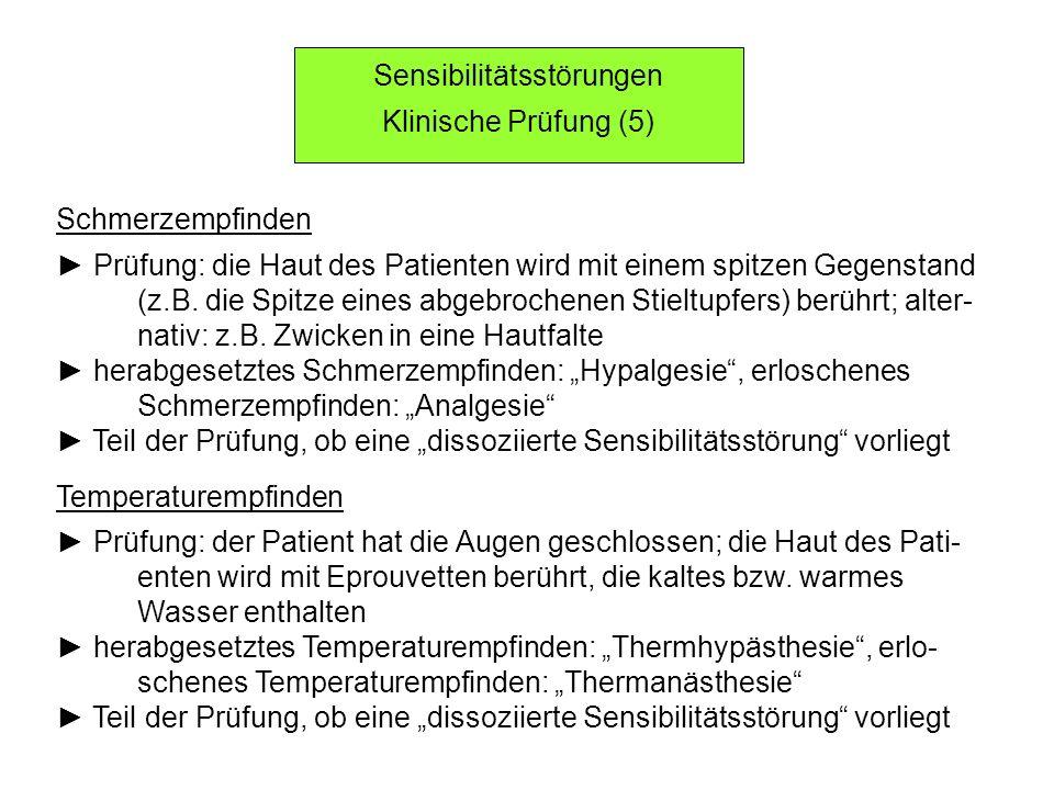 Sensibilitätsstörungen Klinische Prüfung (5) Schmerzempfinden Prüfung: die Haut des Patienten wird mit einem spitzen Gegenstand (z.B. die Spitze eines