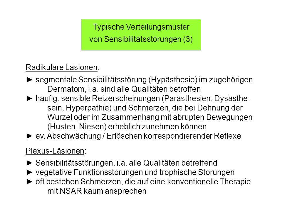 Typische Verteilungsmuster von Sensibilitätsstörungen (3) Radikuläre Läsionen: segmentale Sensibilitätsstörung (Hypästhesie) im zugehörigen Dermatom,