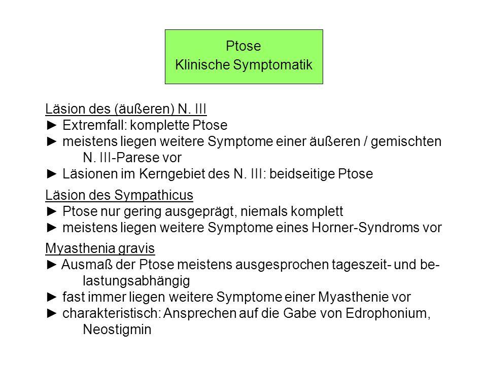 Ptose Klinische Symptomatik Läsion des (äußeren) N. III Extremfall: komplette Ptose meistens liegen weitere Symptome einer äußeren / gemischten N. III