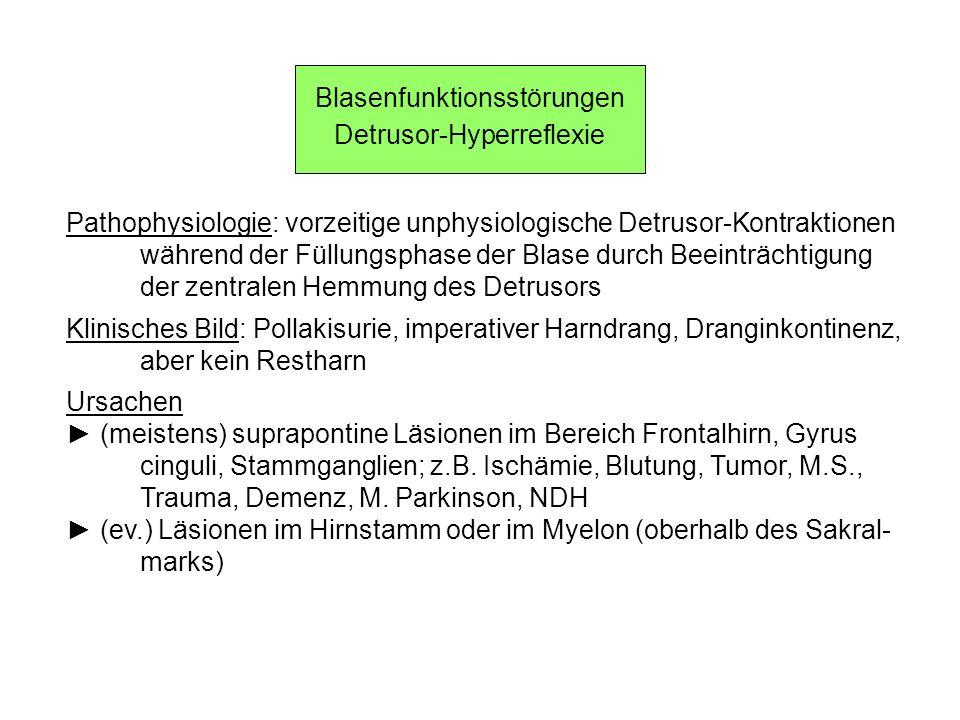 Blasenfunktionsstörungen Detrusor-Hyperreflexie Pathophysiologie: vorzeitige unphysiologische Detrusor-Kontraktionen während der Füllungsphase der Bla