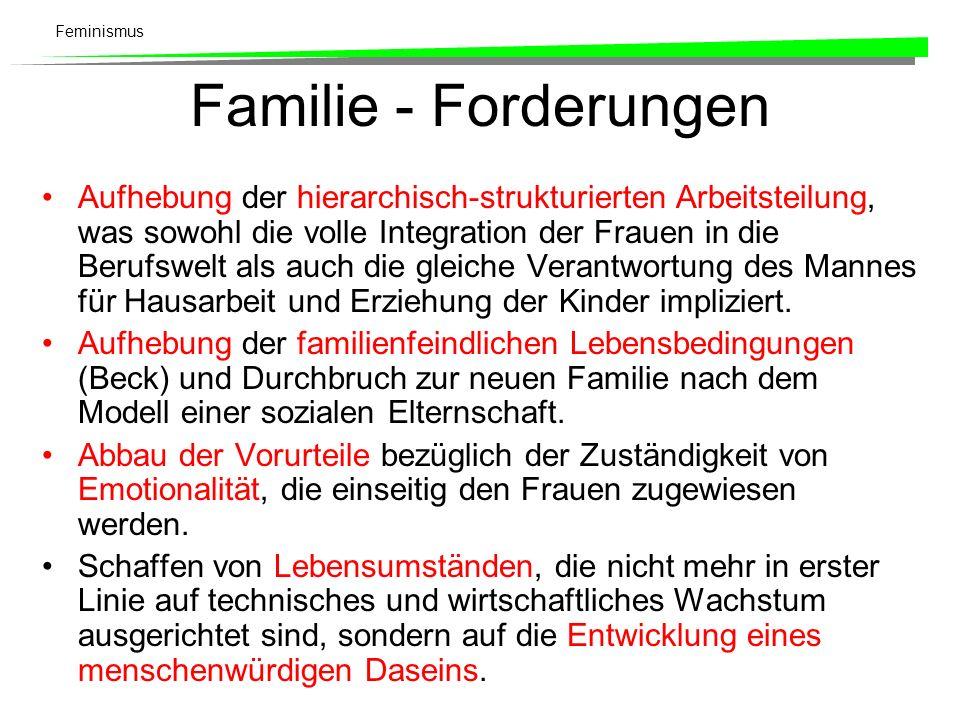 Feminismus Familie - Forderungen Aufhebung der hierarchisch-strukturierten Arbeitsteilung, was sowohl die volle Integration der Frauen in die Berufswe