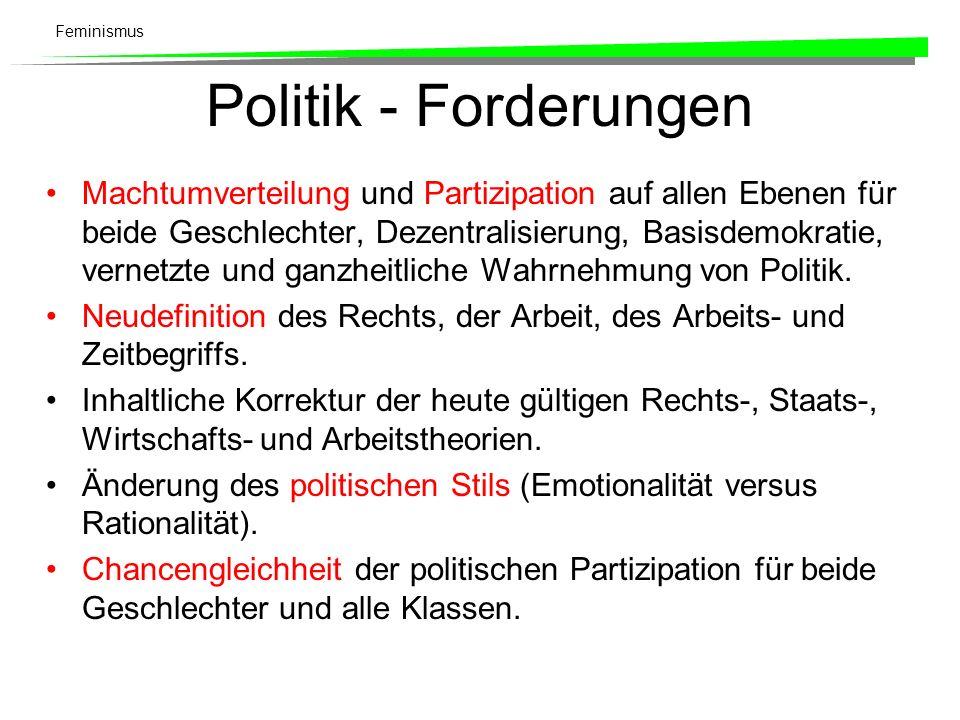 Feminismus Politik - Forderungen Machtumverteilung und Partizipation auf allen Ebenen für beide Geschlechter, Dezentralisierung, Basisdemokratie, vern