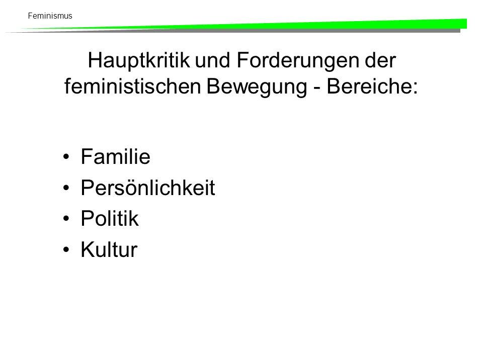 Feminismus Familie - Kritik Politisch: Kleinfamilie als Nährboden für das bürgerlich-individualistische Besitzdenken und Profitstreben.