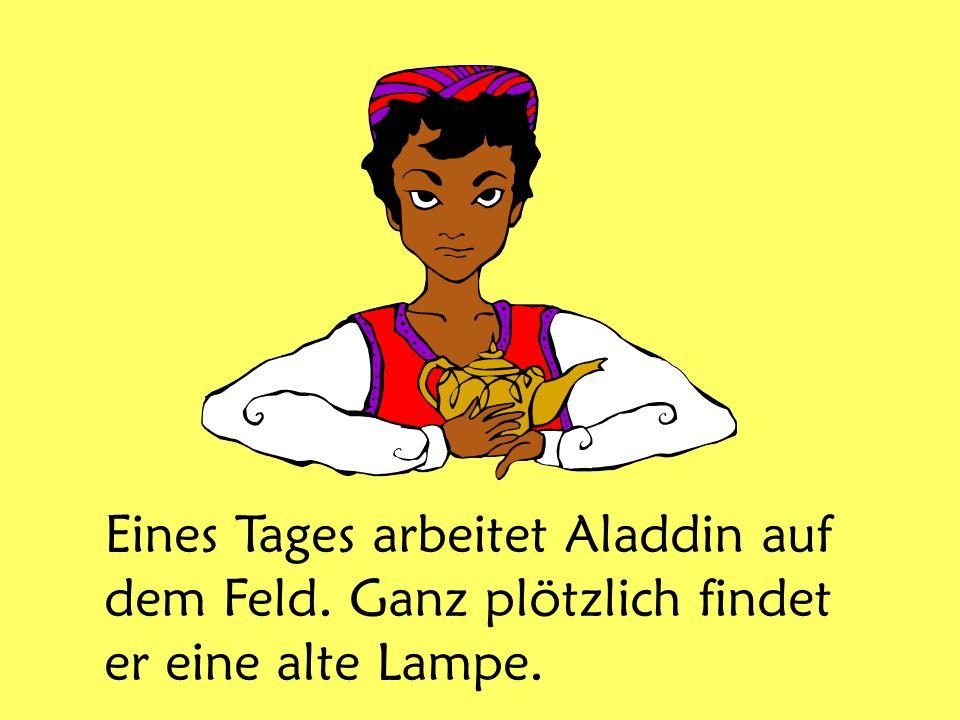 Eines Tages arbeitet Aladdin auf dem Feld. Ganz plötzlich findet er eine alte Lampe.