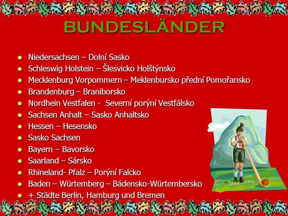 BUNDESLÄNDER Niedersachsen – Dolní Sasko Niedersachsen – Dolní Sasko Schleswig Holstein – Šlesvicko Holštýnsko Schleswig Holstein – Šlesvicko Holštýns