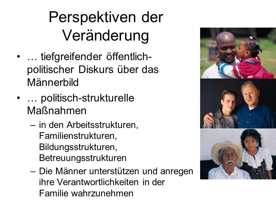 Perspektiven der Veränderung … tiefgreifender öffentlich- politischer Diskurs über das Männerbild … politisch-strukturelle Maßnahmen –in den Arbeitsst